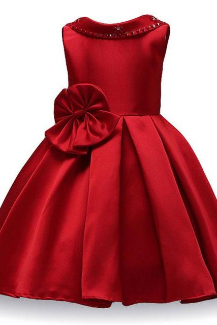 Infant Princess Flower Girls Dress Kids Wedding Bridesmaid Party Tutu Gown Children Clothes red