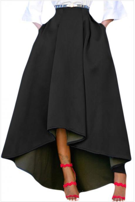 Women Maxi A Line High-Low Skirt Vintage Long Puffy Pockets Prom Party Skirt black