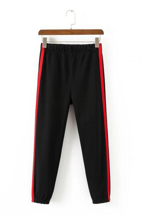 Women High Waist Elastic Striped Patchwork Sport Harem Pants Female Casual Loose Trousers black+red