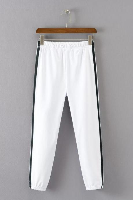 White Casual Trousers, Joggers with Side Black Stripe