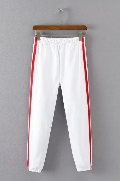 White Casual Trousers, Joggers with Side Red Stripe