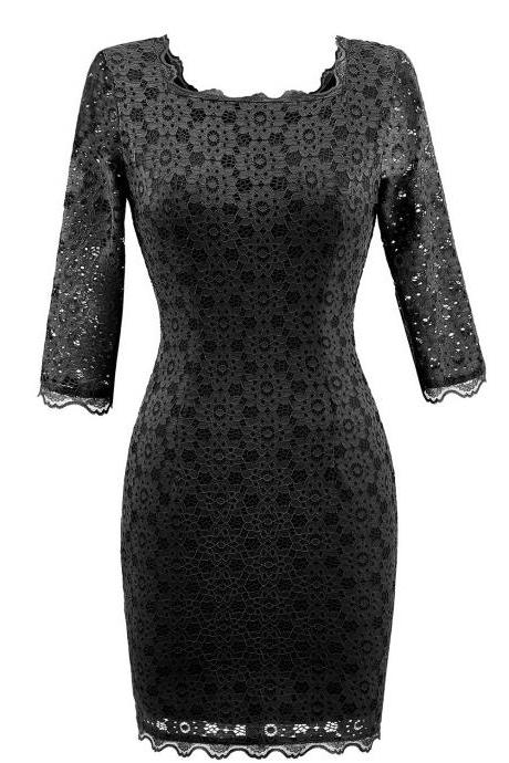 Vintage Lace Bodycon Pencil Dress Sexy Backless Square Collar 3/4 Sleeve Women Sheath Cocktail Party Dress black