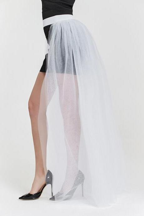 Women Maxi Skirt Floor Length Adult Ruched Tulle High Waist Wedding Party Over Skirt off white