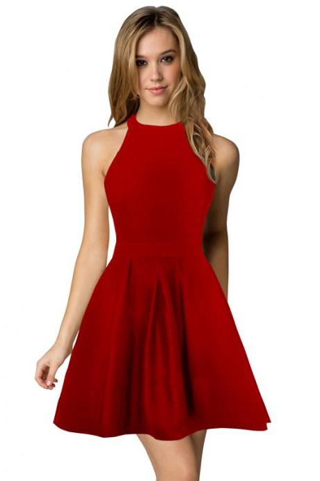 Sexy Short Nightclub Wear Halter Blackless Zipper A-Line Mini Cocktail Party Dress red