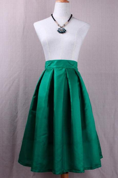 Simple Women A Line Midi Skirt High Waist Pleated Solid Office Work Skater Skirt green