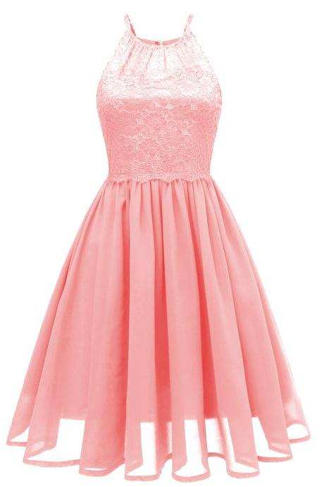 Women Chiffon Dress Sleeveless Summer Hollow Lace Patchwork A Line Casual Party Dress pink
