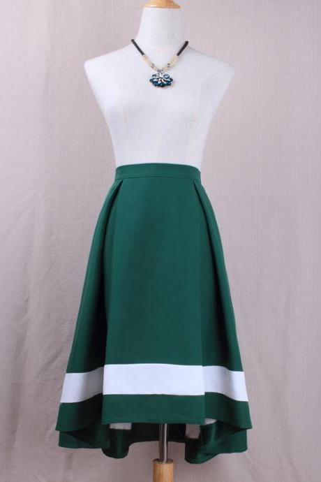 Women High Low Midi Skirt High Waist Pleated Patchwork Office Work A Line Skater Skirt green