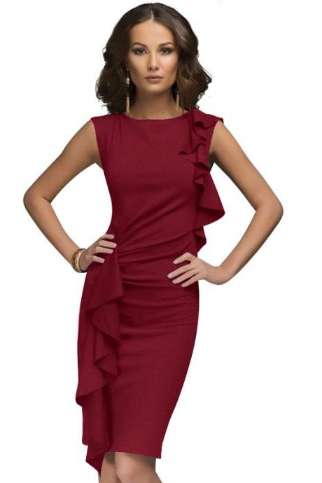 Two Side Flounce Trim Bodycon Dress Sleeveless Slim Sheath Short Party Pencil Dress red