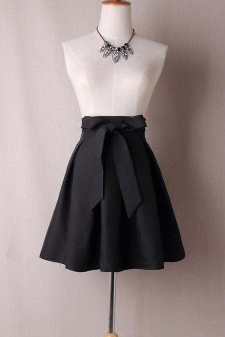 Women A Line Midi Skirt High Waist Bow Belted Office Work Pleated Tutu Short Skater Skirt black