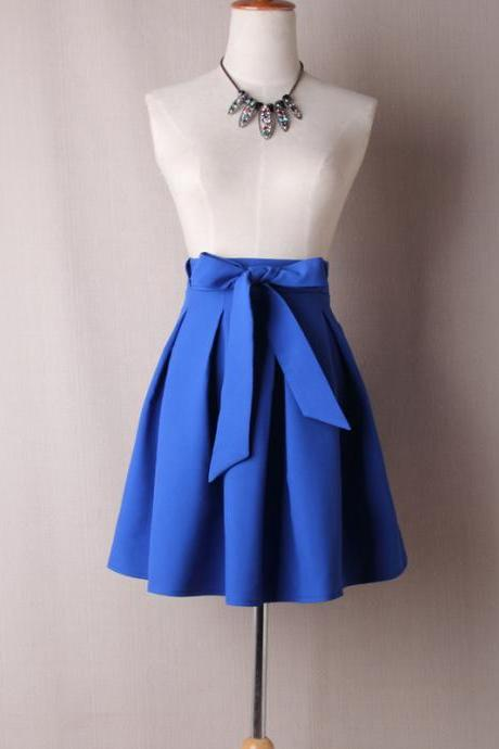 Cobalt Blue High Rise Short Ruffled Skater Skirt with Bow Accent Belt