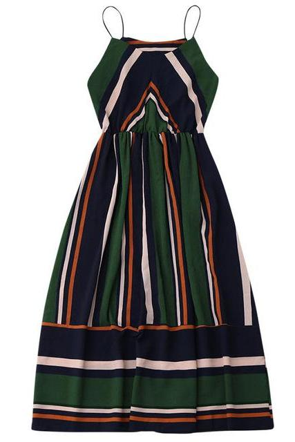 Women Casual Striped Dress Sexy Sleeveless Spaghetti Strap Midi A Line Beach Summer Party Sundress green