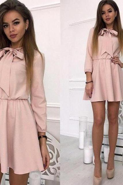 Women Summer Casual Dress 3/4 Sleeve Solid Bow Tie A-Line Mini Club Party Dress pink