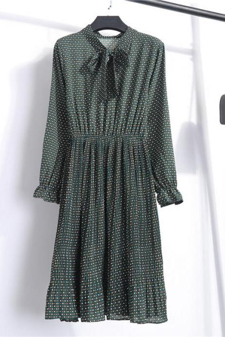 Women Summer Chiffon Pleated Dress Slim Long Sleeve Bow Tie Boho Beach Midi Casual Dress green