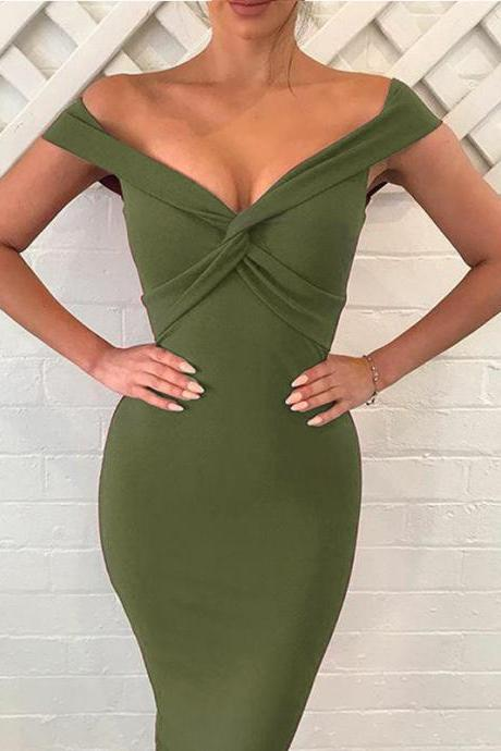 Sexy V Neck Sheath Pencil Dress Women Off the Shoulder Bodycon Club Party Dress army green