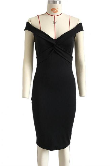 Sexy V Neck Sheath Pencil Dress Women Off the Shoulder Bodycon Club Party Dress black