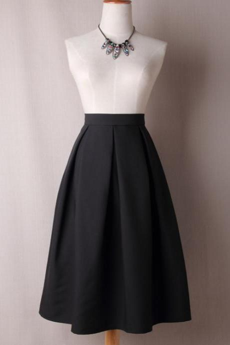 Women A Line Midi Skirt High Waist Pleated Solid Below Knee Office Work Skater Skirt black