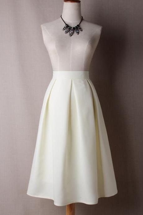 Women A Line Midi Skirt High Waist Pleated Solid Below Knee Office Work Skater Skirt off white