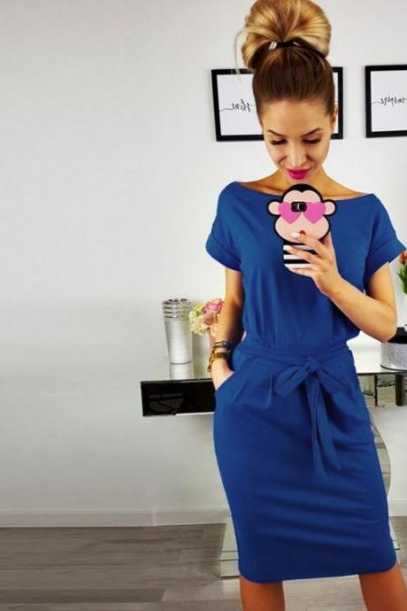 Women Slim Bodycon Pencil Dress Short Sleeve Belted Pockets Sheath Work Office Party Dress blue