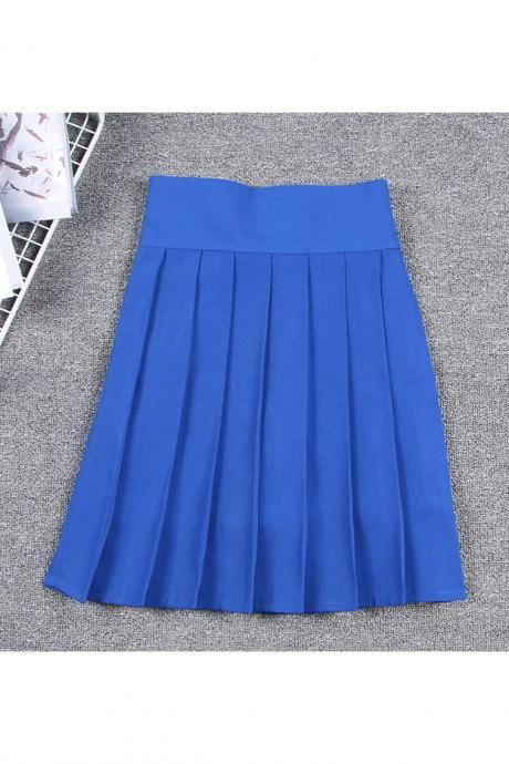 Harajuku JK Summer Skirt Women High Waist Cosplay Solid Girl Mini Pleated Skirt blue