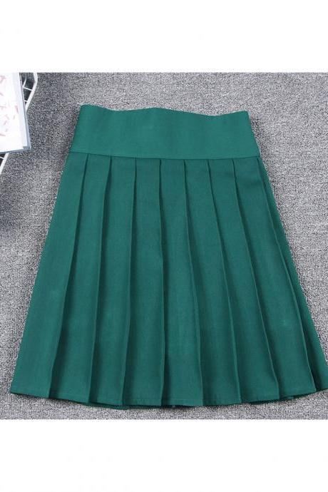 Harajuku JK Summer Skirt Women High Waist Cosplay Solid Girl Mini Pleated Skirt hunter green