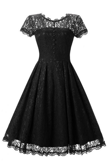 Vintage Floral Lace Pleated Dress Women Short Sleeve Buttons A Line Cocktail Party Swing Dress black