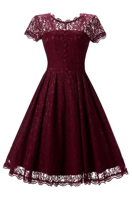 Vintage Floral Lace Pleated Dress Women Short Sleeve Buttons A Line Cocktail Party Swing Dress burgundy