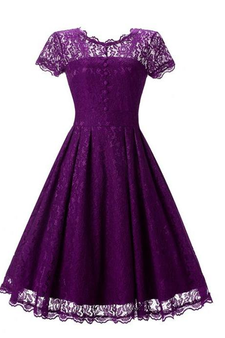 Vintage Floral Lace Pleated Dress Women Short Sleeve Buttons A Line Cocktail Party Swing Dress purple
