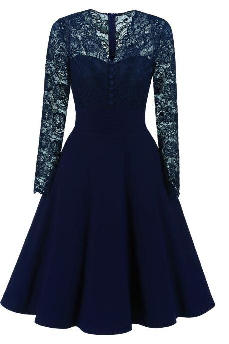 Long Sleeve Floral Lace Dress Vintage Buttons V Neck Women Cocktail Evening Party Swing Dress navy blue