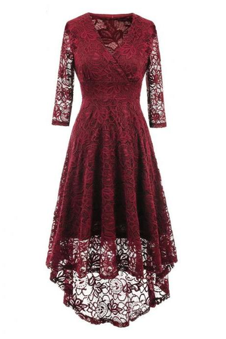 Vintage Floral Lace High Low Dress Women V Neck 3/4 Sleeve Cocktail Evening Party Swallowtail Dress burgundy