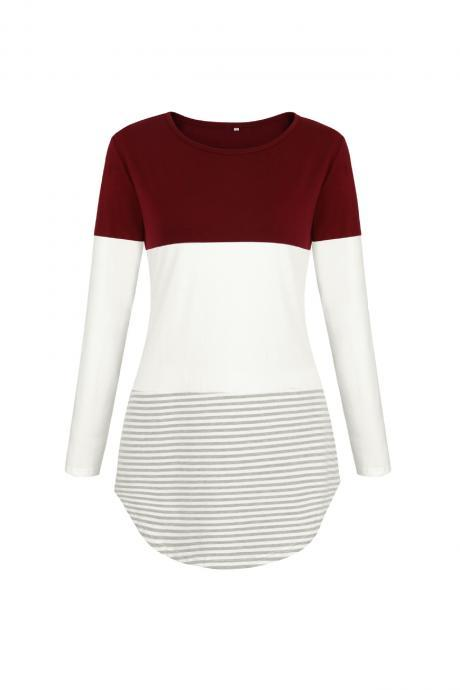 Women Long Sleeve Cotton T Shirt O Neck Spring Summer Striped Patchwork Casual Tee Tops burgundy