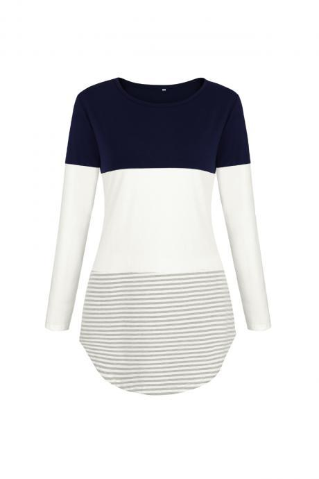 Women Long Sleeve Cotton T Shirt O Neck Spring Summer Striped Patchwork Casual Tee Tops navy blue
