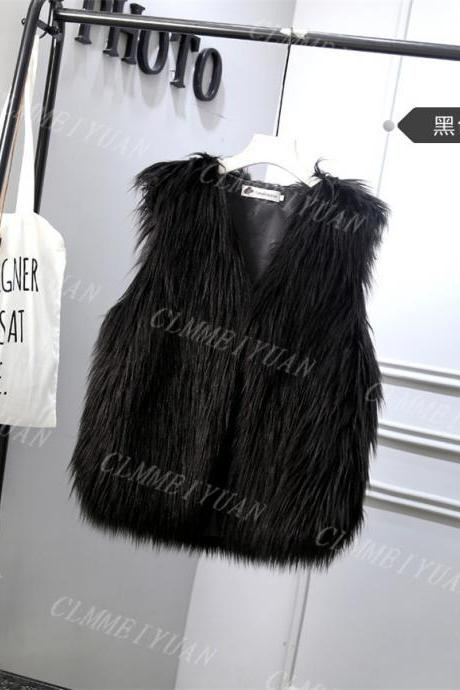 Women Faux Fur Vest Solid Winter Loose Oversize Female Sleeveless Jacket Waistcoat black