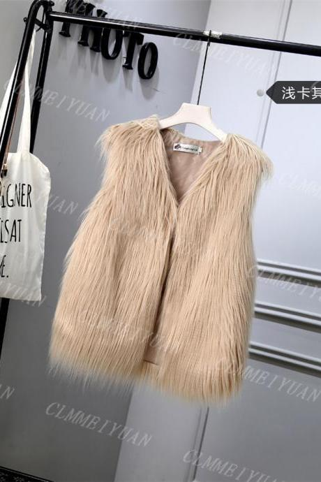 Women Faux Fur Vest Solid Winter Loose Oversize Female Sleeveless Jacket Waistcoat khaki