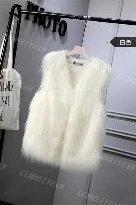 Women Faux Fur Vest Solid Winter Loose Oversize Female Sleeveless Jacket Waistcoat off white