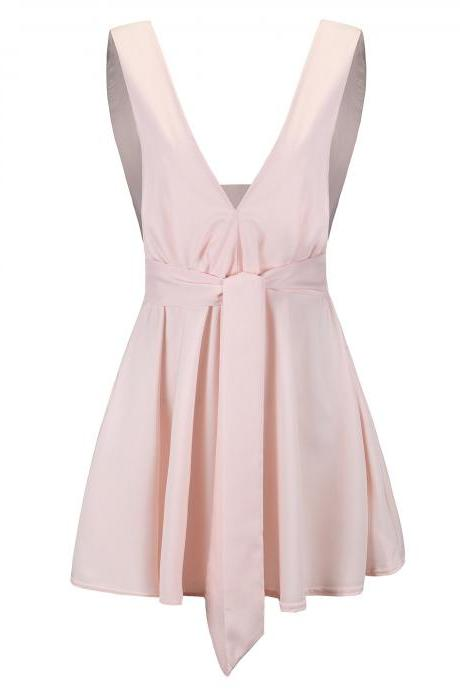 Women Summer Casual Dress Deep V Neck Sleeveless High Waist Belted Sexy Mini Club Party Dress pink