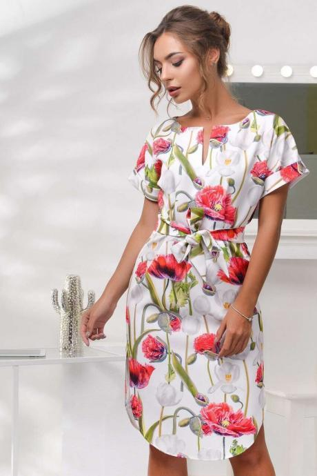 Women Floral Printed Dress O-Neck Side Split Short Sleeve Casual Summer Party Dress red