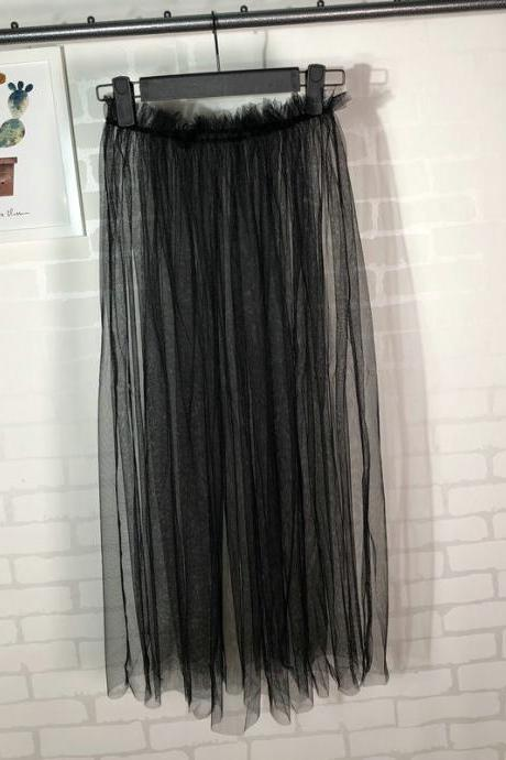 Summer Style Sheer Tulle Skirts A Line Tea Length High Waist Sexy Women See Through Skirt black