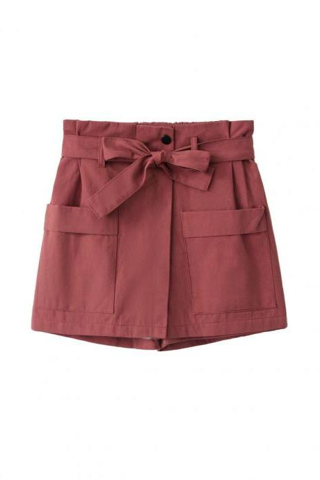 Women High Waist Shorts Women Belted Beach Summer Loose Streetwear Wide Leg Shorts brick red
