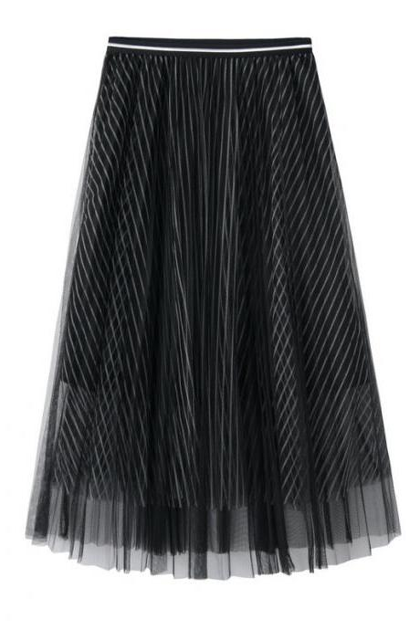 New Summer High Waist Midi A Line Skirt Women Striped Tulle Pleated Skirt black