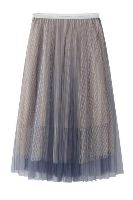 New Summer High Waist Midi A Line Skirt Women Striped Tulle Pleated Skirt gray