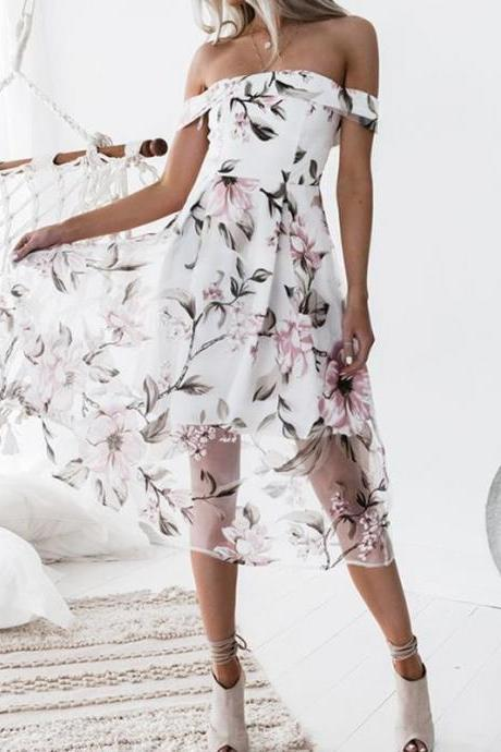 Women Summer Beach Boho Dress Floral Printed Off the Shoulder Cocktail Party Gowns pink