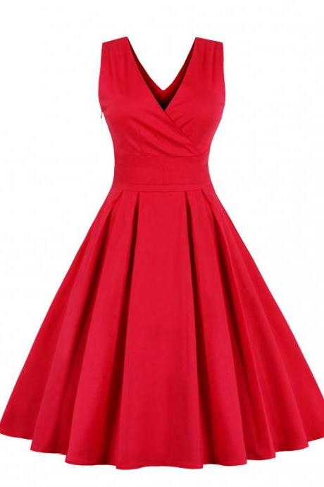 Women Sleeveless Summer Dress V Neck Retro 50s 60s Plus Size A Line Club Party Dress red