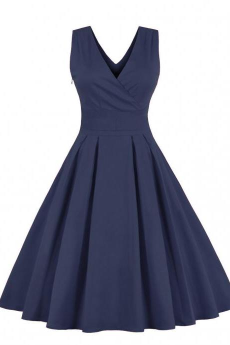Women Sleeveless Summer Dress V Neck Retro 50s 60s Plus Size A Line Club Party Dress navy blue