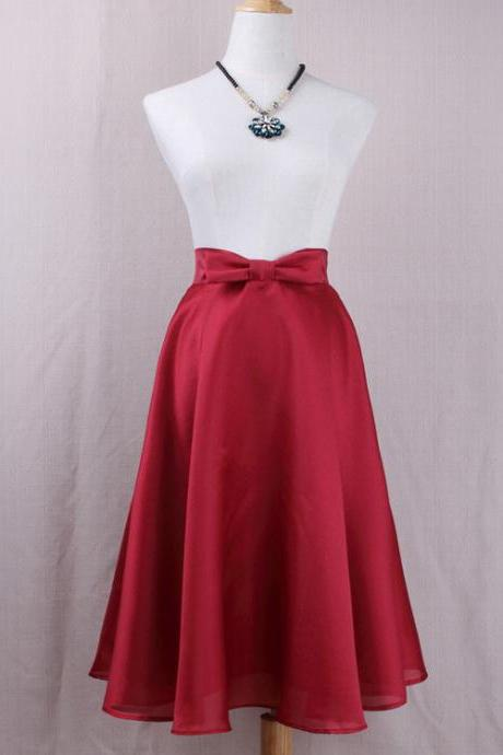 Fashion Bow High Waist A-Line Midi Skirt Women Solid Work Swing Skater Skirt crimson