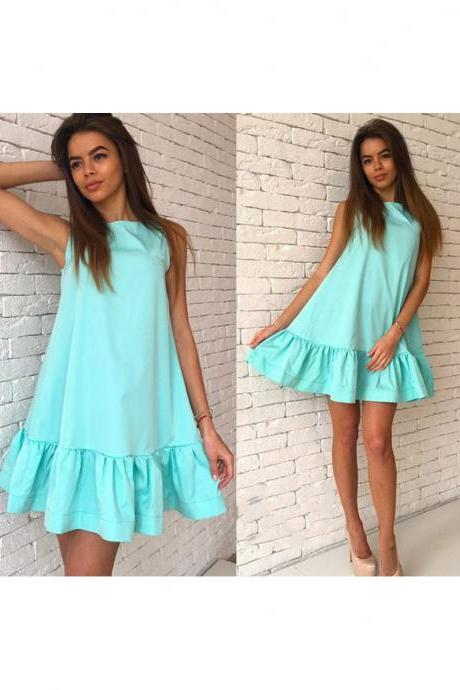 Sexy Ruffles Casual Dress Women Summer Sleeveless A Line Plus Size Short Mini Party Dress light blue