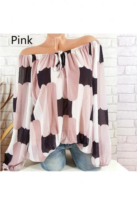 Off the Shoulder Chiffon Shirt Long Sleeve Casual Women Loose Blouse Summer Tops pink