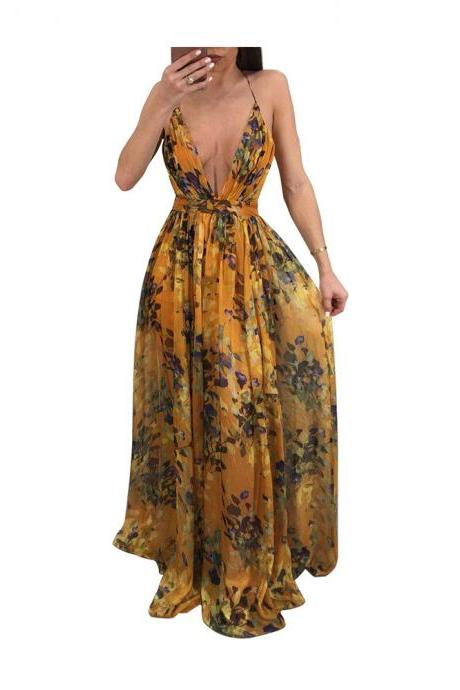 Mustard Yellow Floral Print Plunge V Tie Back Floor Length A-Line Maxi Dress Featuring Criss-Cross Open Back
