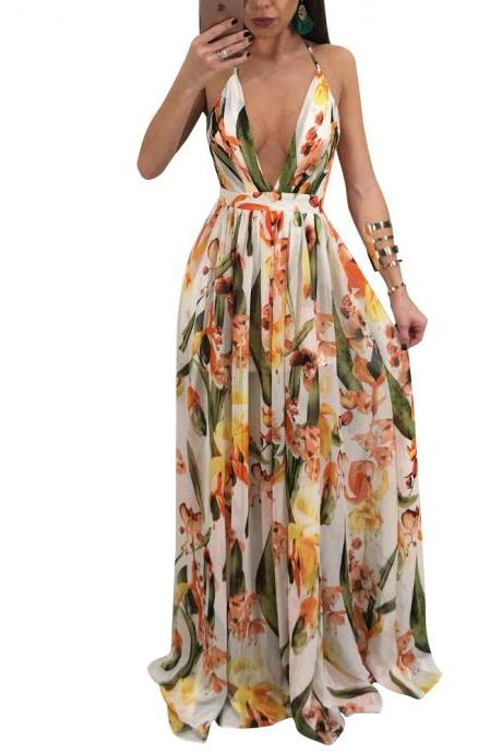 Sexy Deep V Backless Beach Maxi Dress Women Summer Chiffon Tunic Holiday Floral Print Long Dress6#