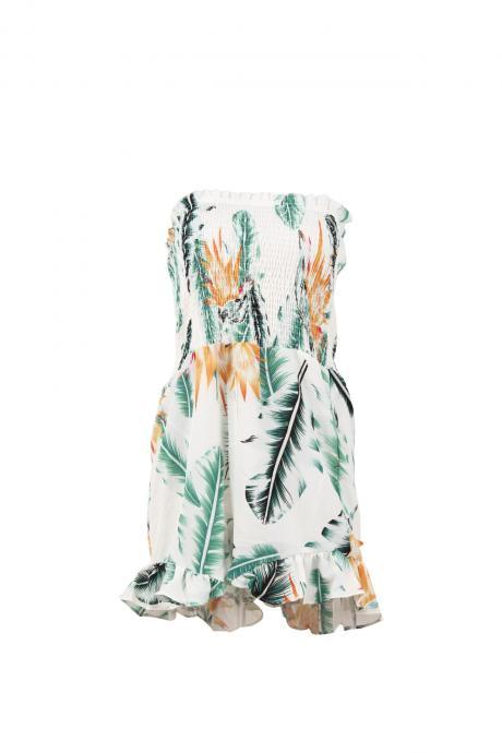 Summer Women Romper Casual Bohemian Floral Printed Jumpsuit Off Shoulder Beach Playsuit green