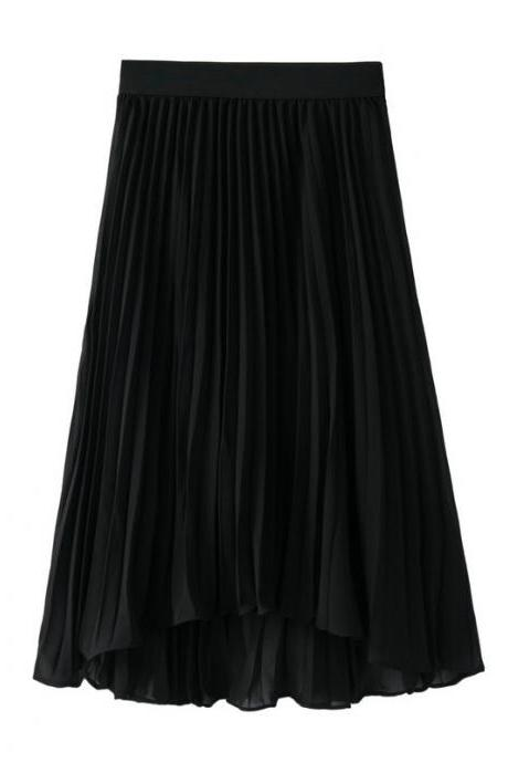 Bohemian Chiffon Skirt Women High Waist Solid Summer Beach Pleated Midi Asymmetrical Skirt black